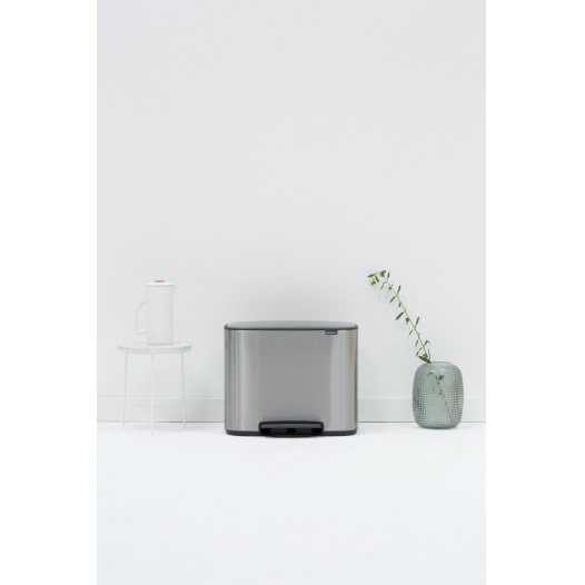 Brabantia - BALDE DE PEDAL BO, 3X11L MATT STEEL FINGERPRINT PROOF